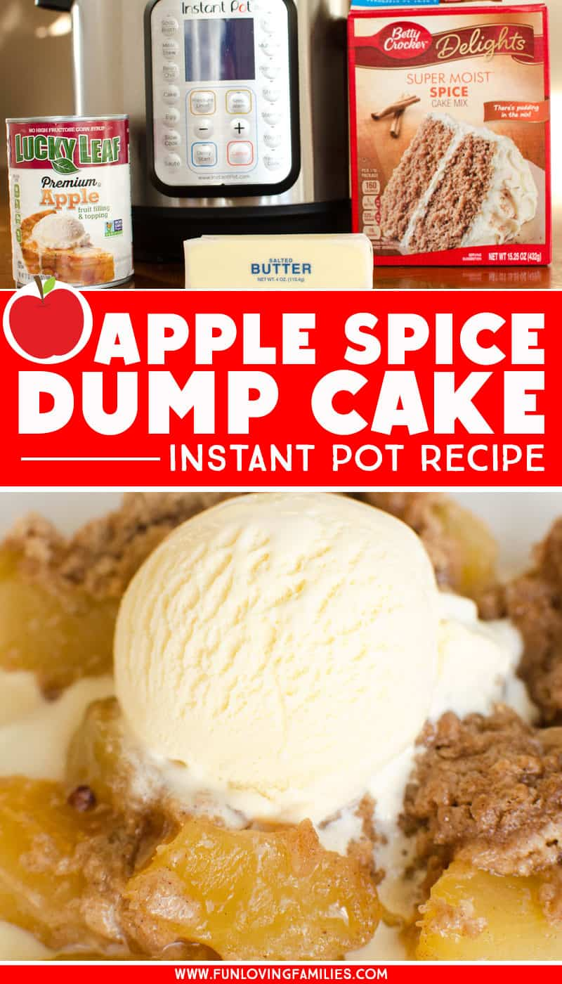 Easy Instant Pot dessert recipe: Make this apple spice dump cake with your Instant Pot. It's super easy and only uses three ingredients (plus ice cream to top it off!). #instantpot #instantpotdessert #instantpotdumpcake #applespicecake #dumpcakerecipe #easyinstantpotrecipe #funlovingfamilies