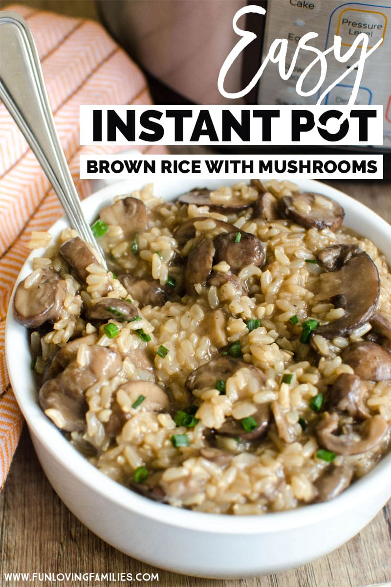 You'll love this easy Instant Pot brown rice recipe. It's healthy, delicious, and loaded with mushrooms. #instantpot #instantpotrecipe #brownrice #healthyrecipe #healthyinstantpotrecipe