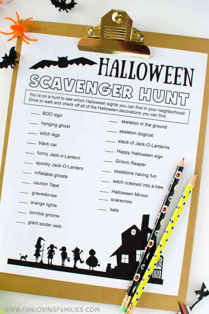 Halloween fun for kids: Print out this Halloween scavenger hunt list and have seeing which Halloween decorations you can spot in your neighborhood. Fun Halloween tradition for families. #halloweenfun #familyfun #halloweenactivity #halloweengame #halloweenparty #freeprintables #halloweenprintables #funlovingfamilies