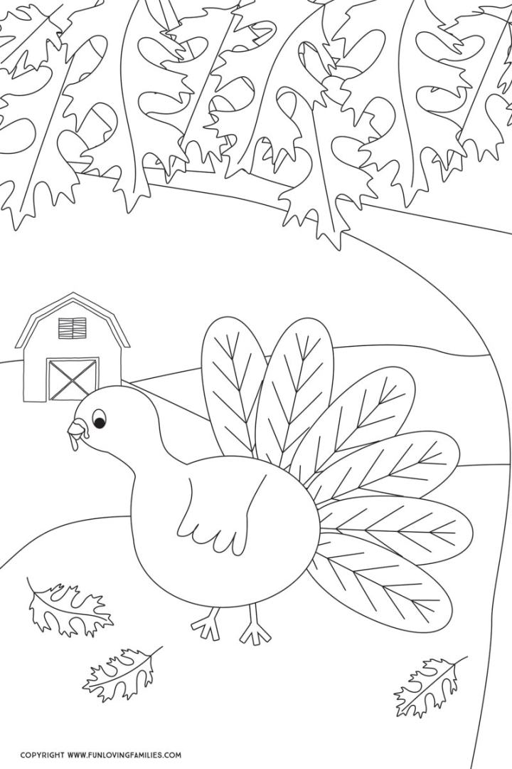 Turkey coloring page for Fall or Thanksgiving.