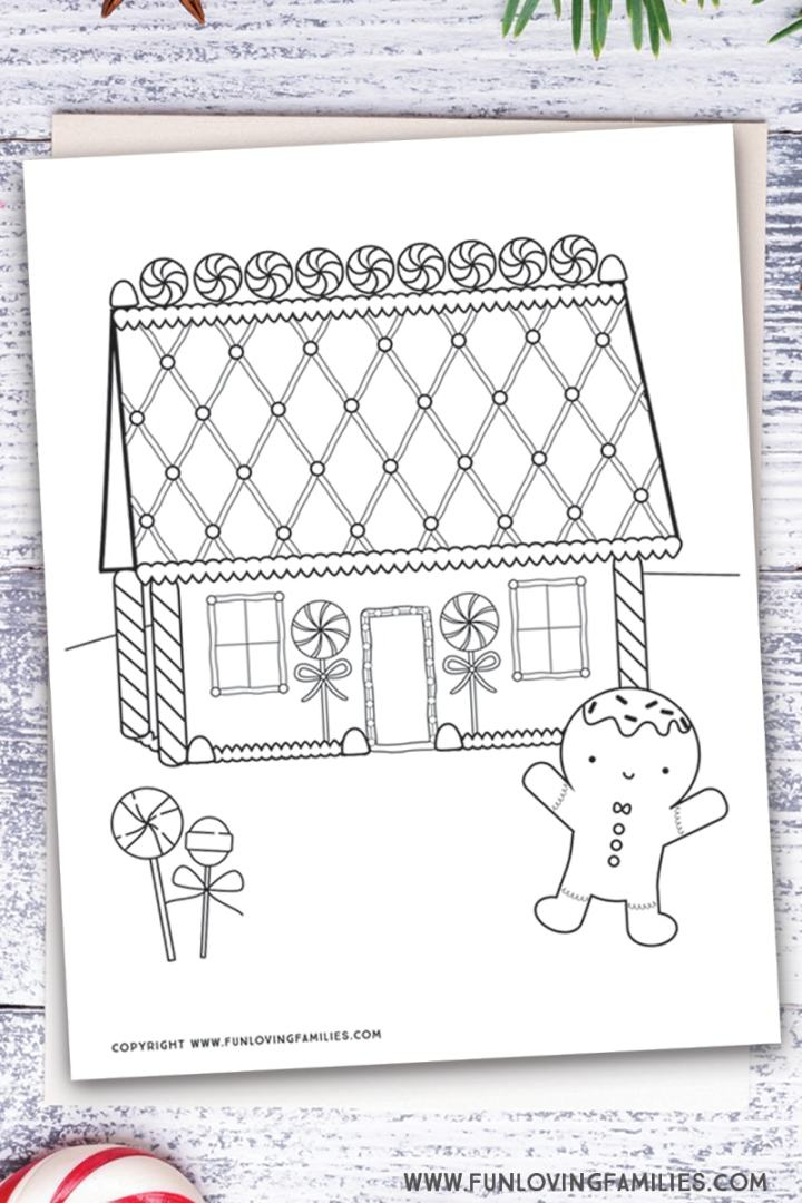 cute gingerbread house coloring page printable for kids