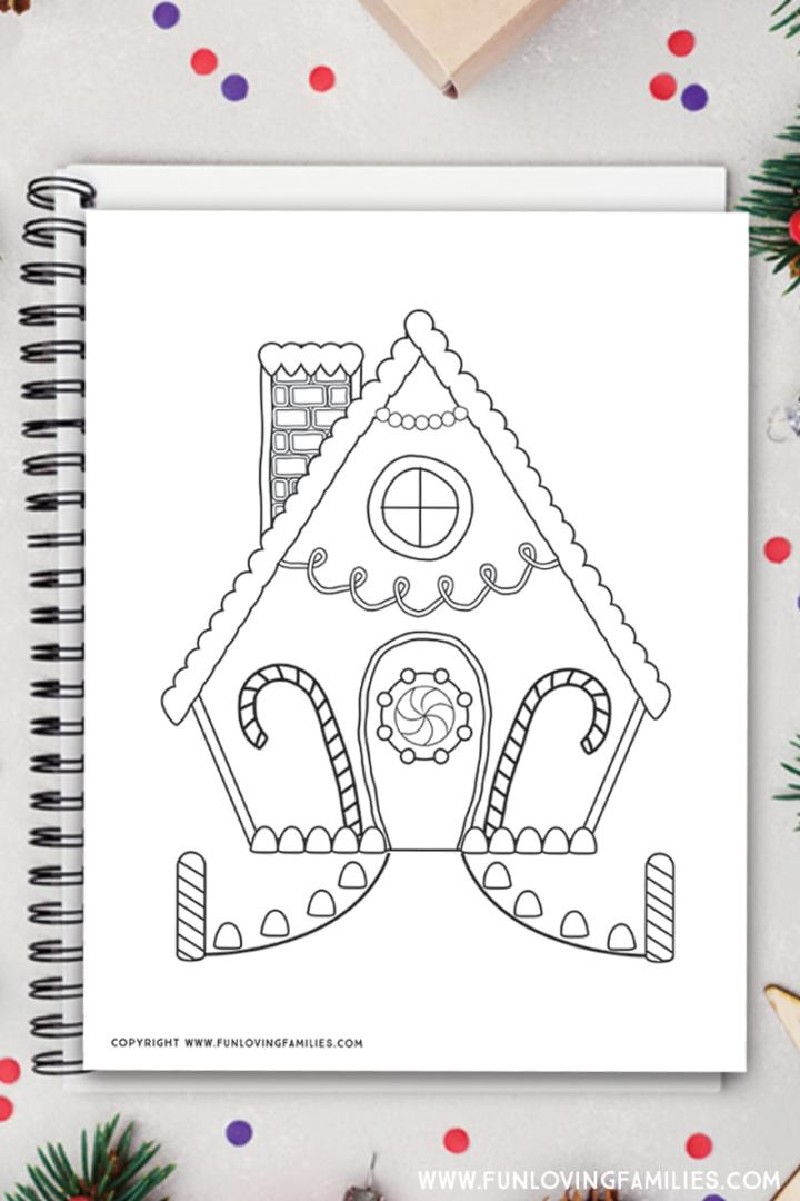 Free printable gingerbread house coloring pages for kids. Click through to see all three coloring sheets for holiday coloring. #gingerbreadhouse #christmasprintables #coloringpages #coloringsheets #freecoloringpages