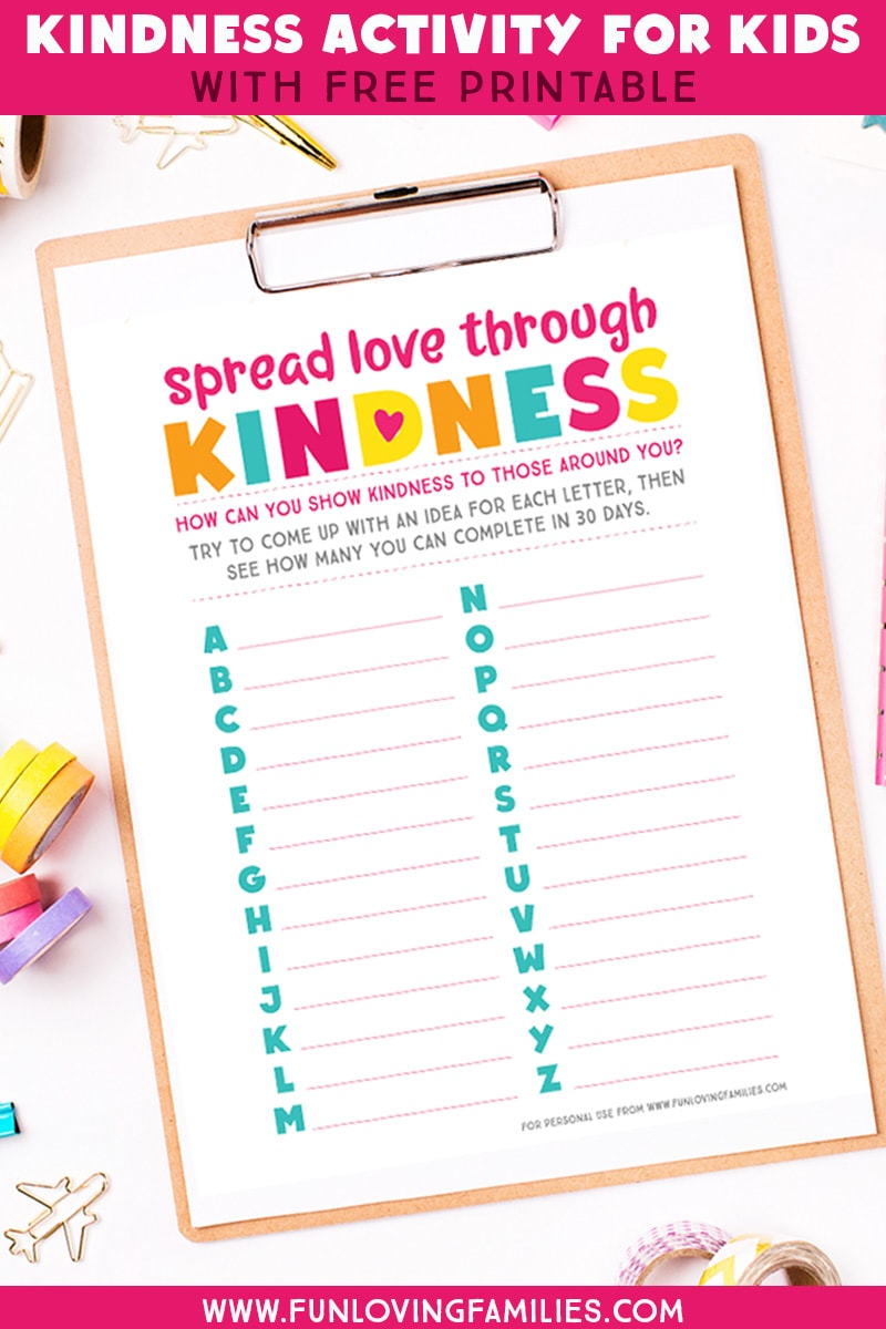 Fun kindness activity for kids to help them come up with ways to show kindness to others. Great resource for a kids kindness challenge. #kindnessactivities #kidsactivities #kindness