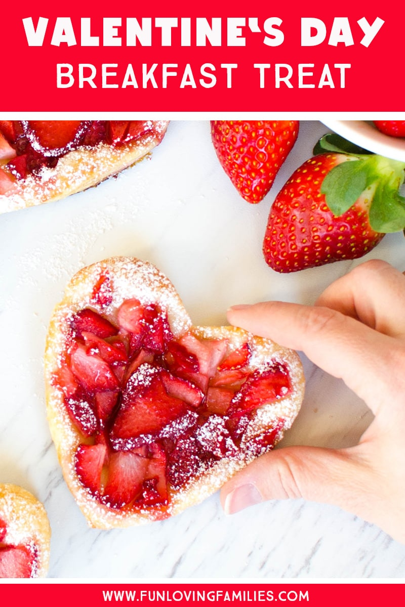 Add these Puff Pastry strawberry heart treats to your Valentine's Day ideas. They're fun and easy and the kids will love them as a special Valentine's Day breakfast treat. #puffpastry #valentinesday #valentinesdayideas