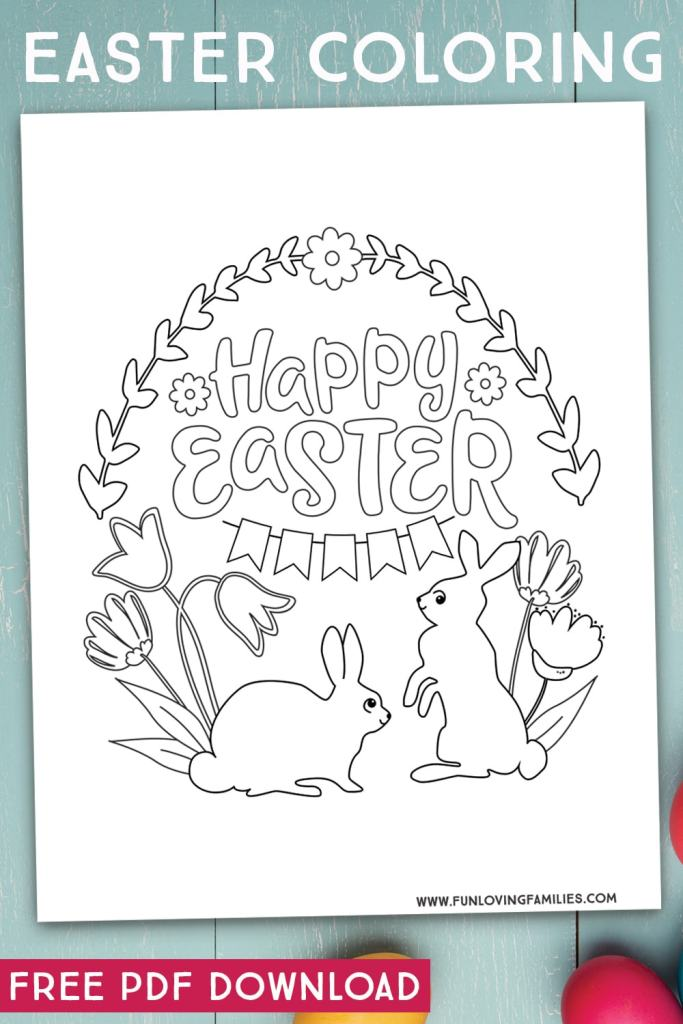 Happy Easter coloring page for kids