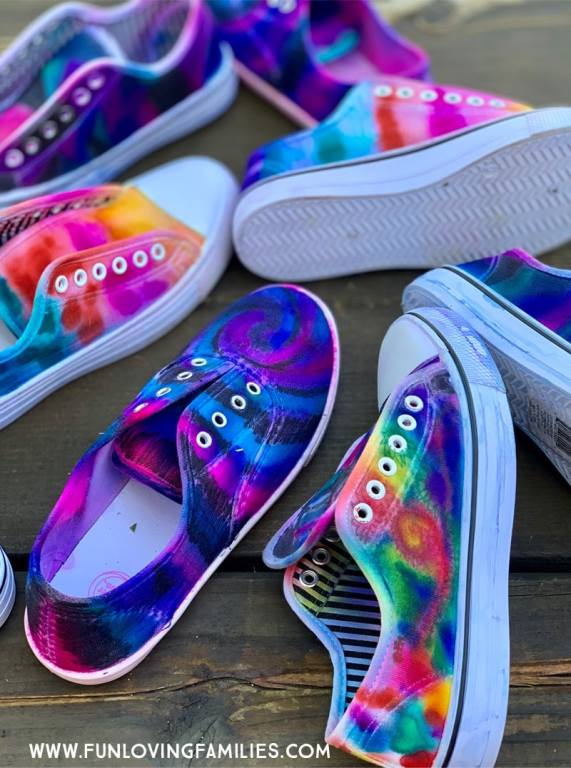 colorful DIY dyed shoeswith sharpie markers
