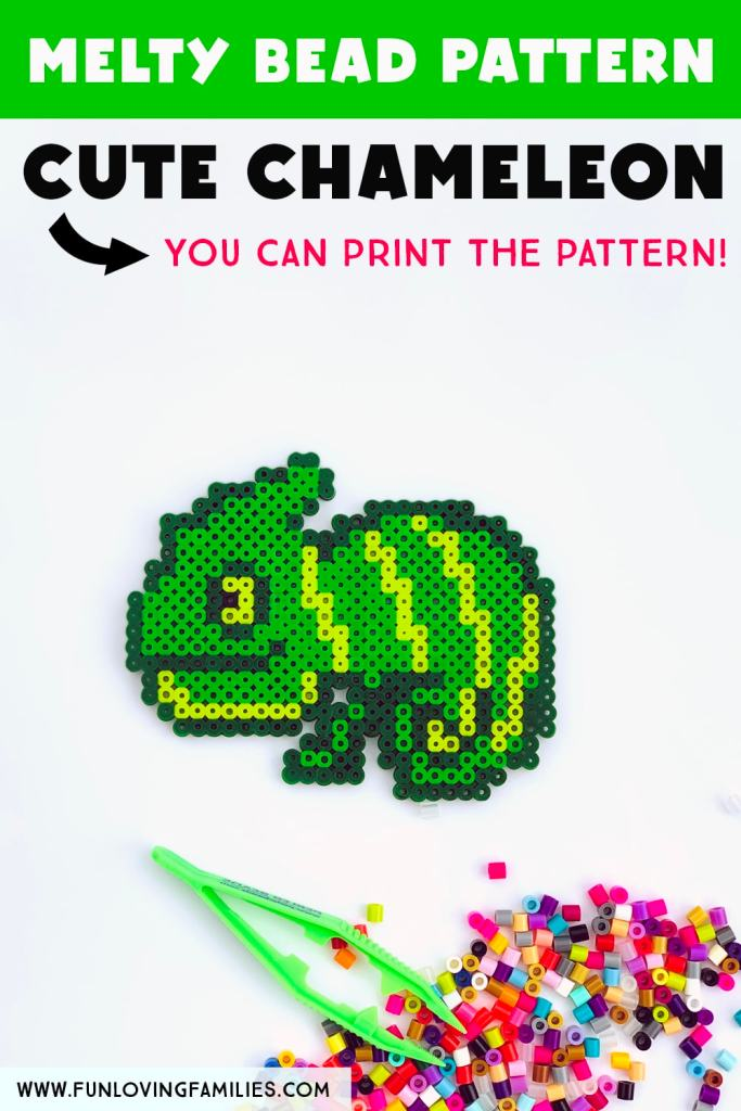 chameleon made from fused Perler Beads