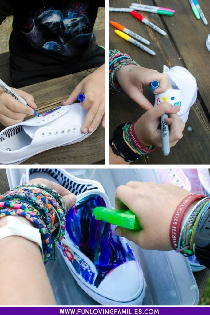 steps for dyeing shoes with Sharpie marker