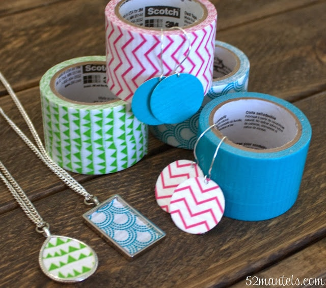 duct tape jewelry, earrings and necklace
