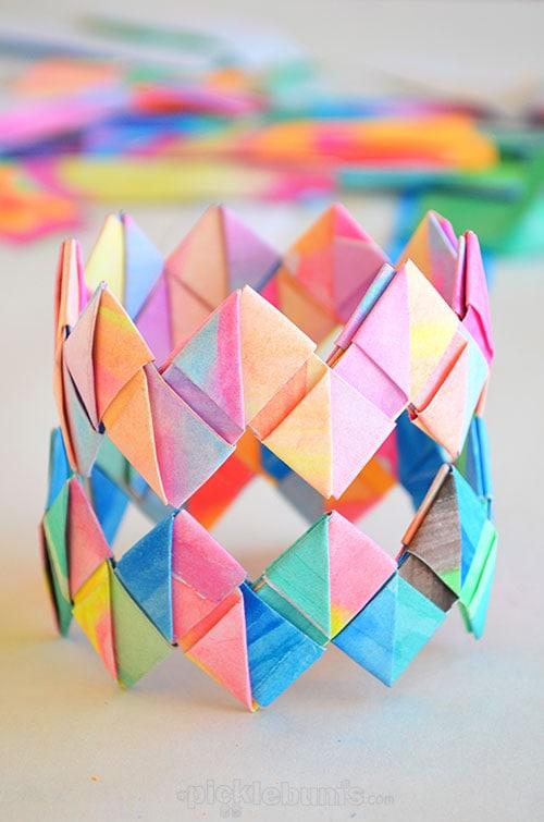colorful folded paper bracelets