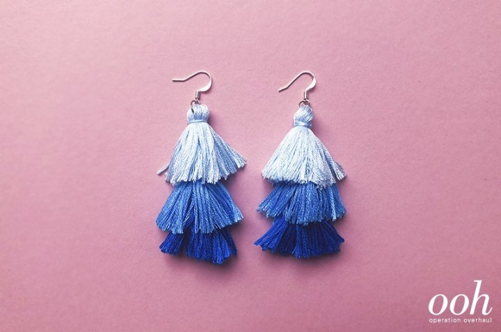 shades of blue DIY tassel earrings craft for teens
