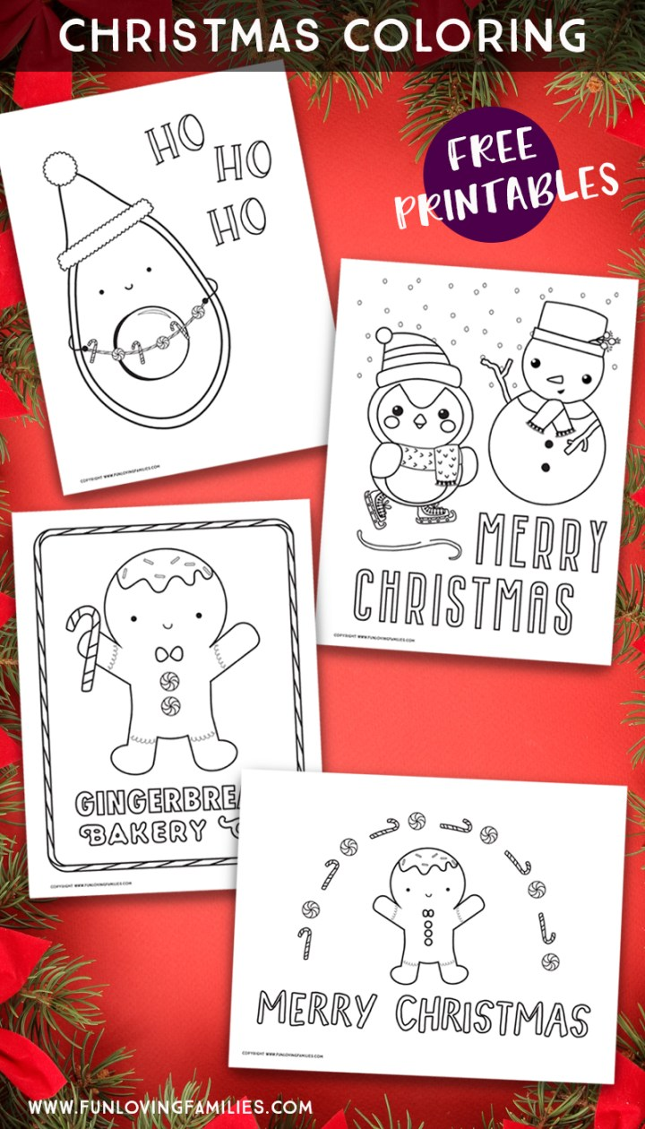 Cute Christmas coloring pages with four printables