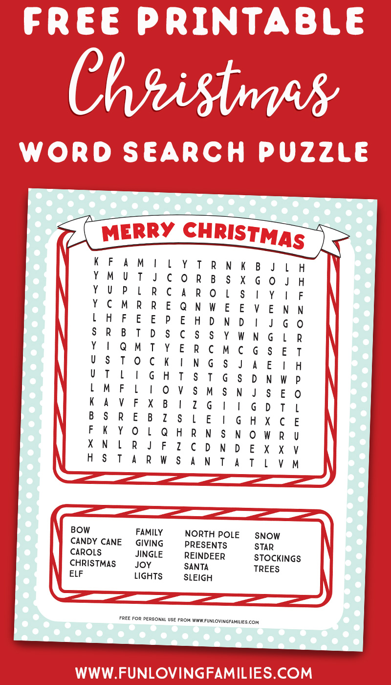 Christmas word search puzzle for kids