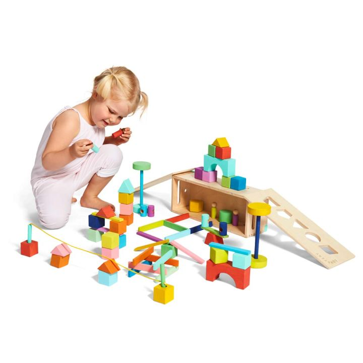 creative wooden block set for kids