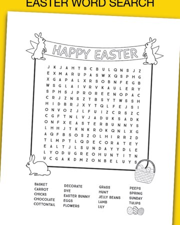 Easter word search black and white printable sheet