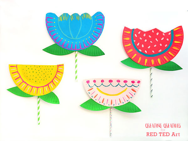bright and colorful paper plate flowers