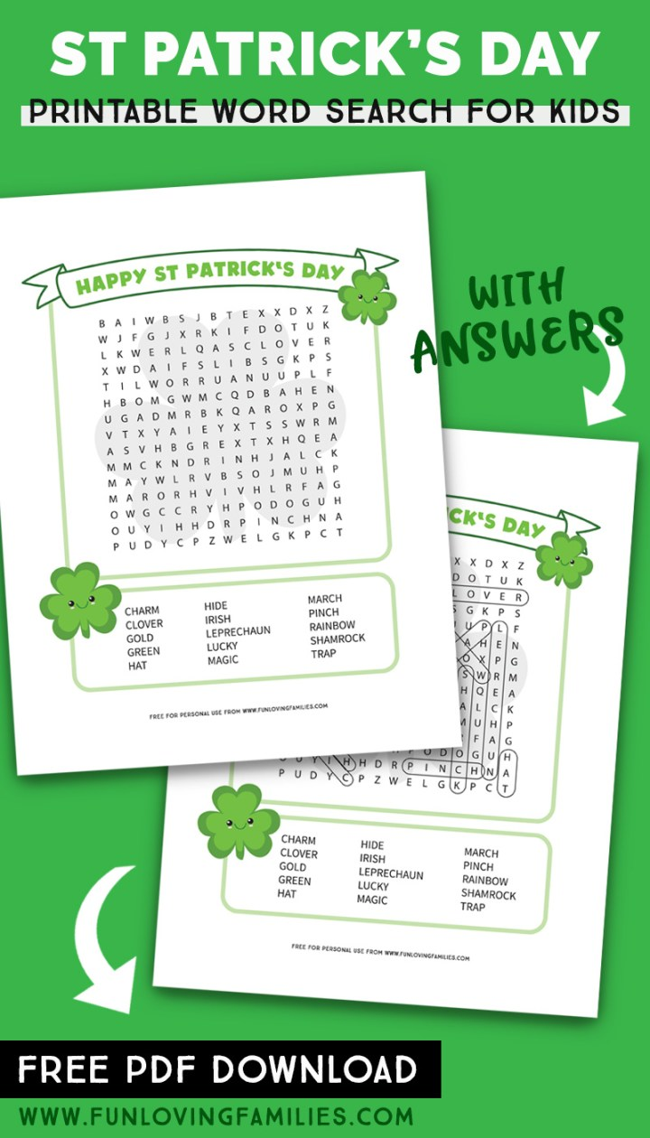 St. Patricks Day word search PDF with printable answers