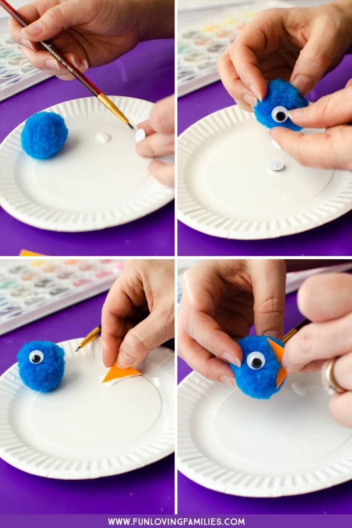 making the pom pom blue birds