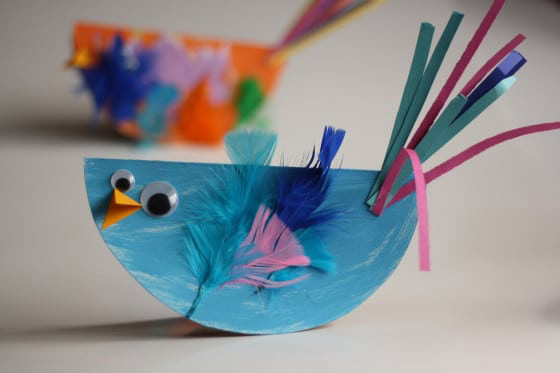 paper plate bluebird kids craft