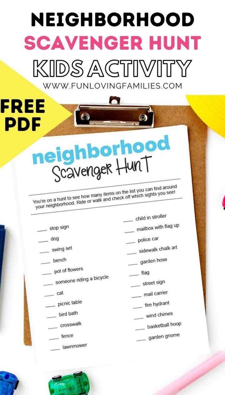 Neighborhood scavenger hunt printable free PDF
