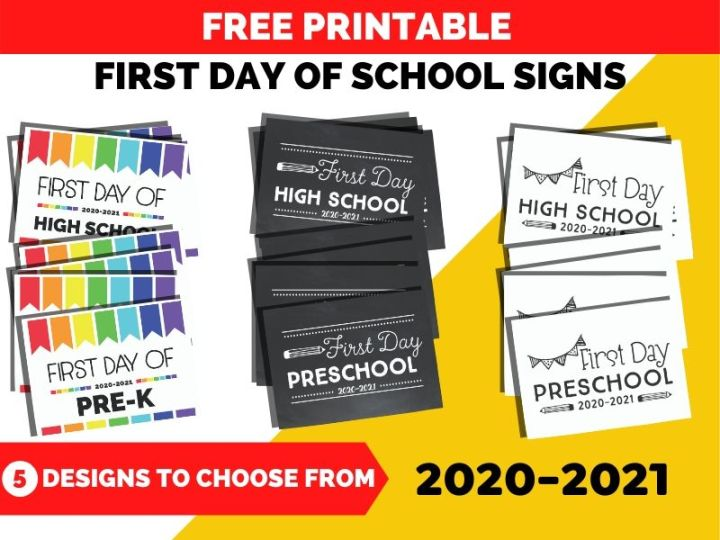 3 sets of first day of school printable signs for kids
