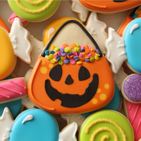 iced sugar cookie with candy bucket decoration