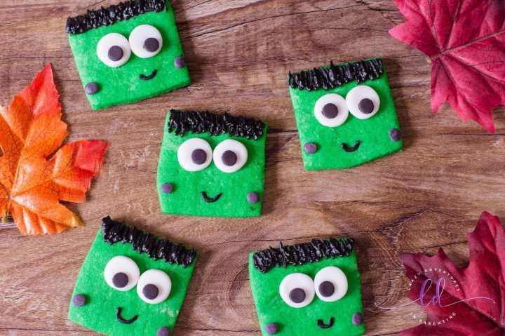 square cut frankenstein cookies