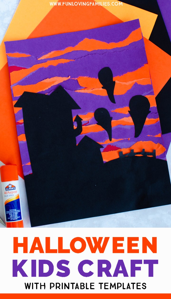Halloween paper art with house and ghosts