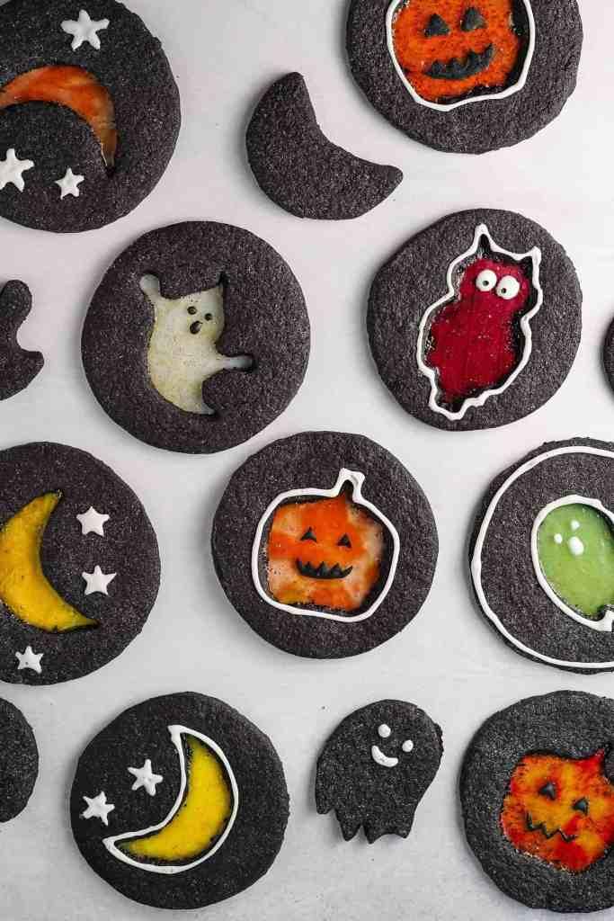 dark chocolate windowpane halloween cookies