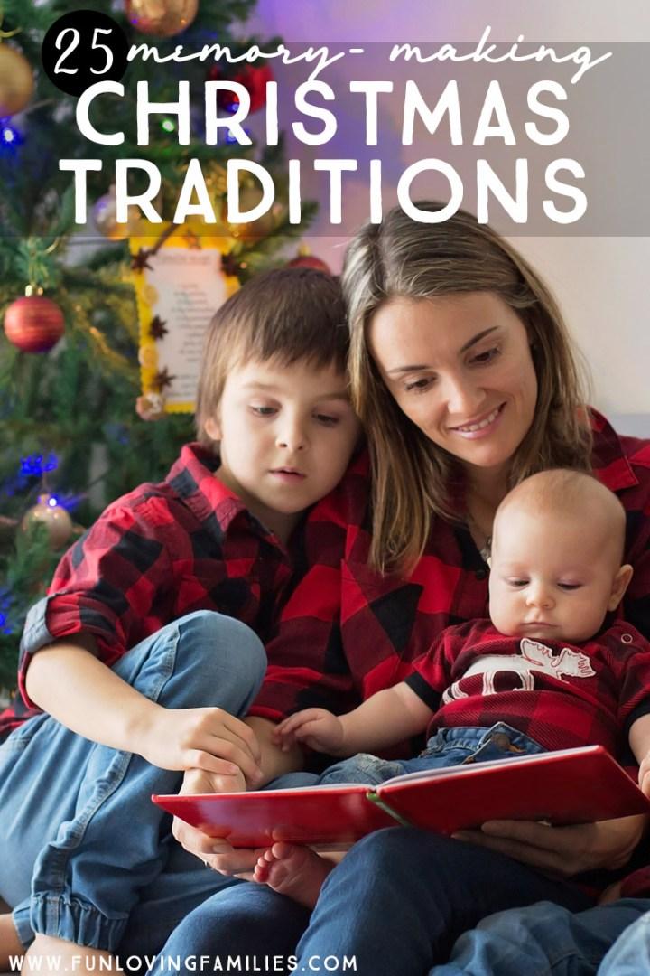 mom reading Christmas story to kids