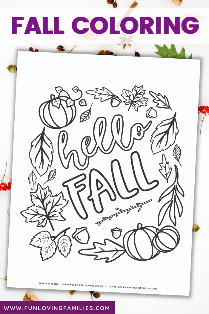 Hello fall coloring page for adults and kids of all ages