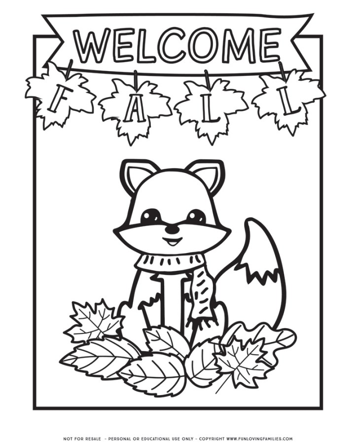 Cute fall coloring page with fox and Welcome Fall sign