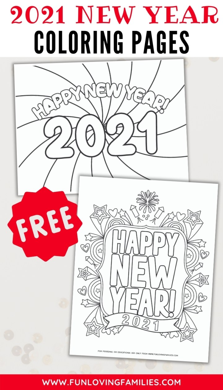 set of printable new year's eve coloring sheets to download for free