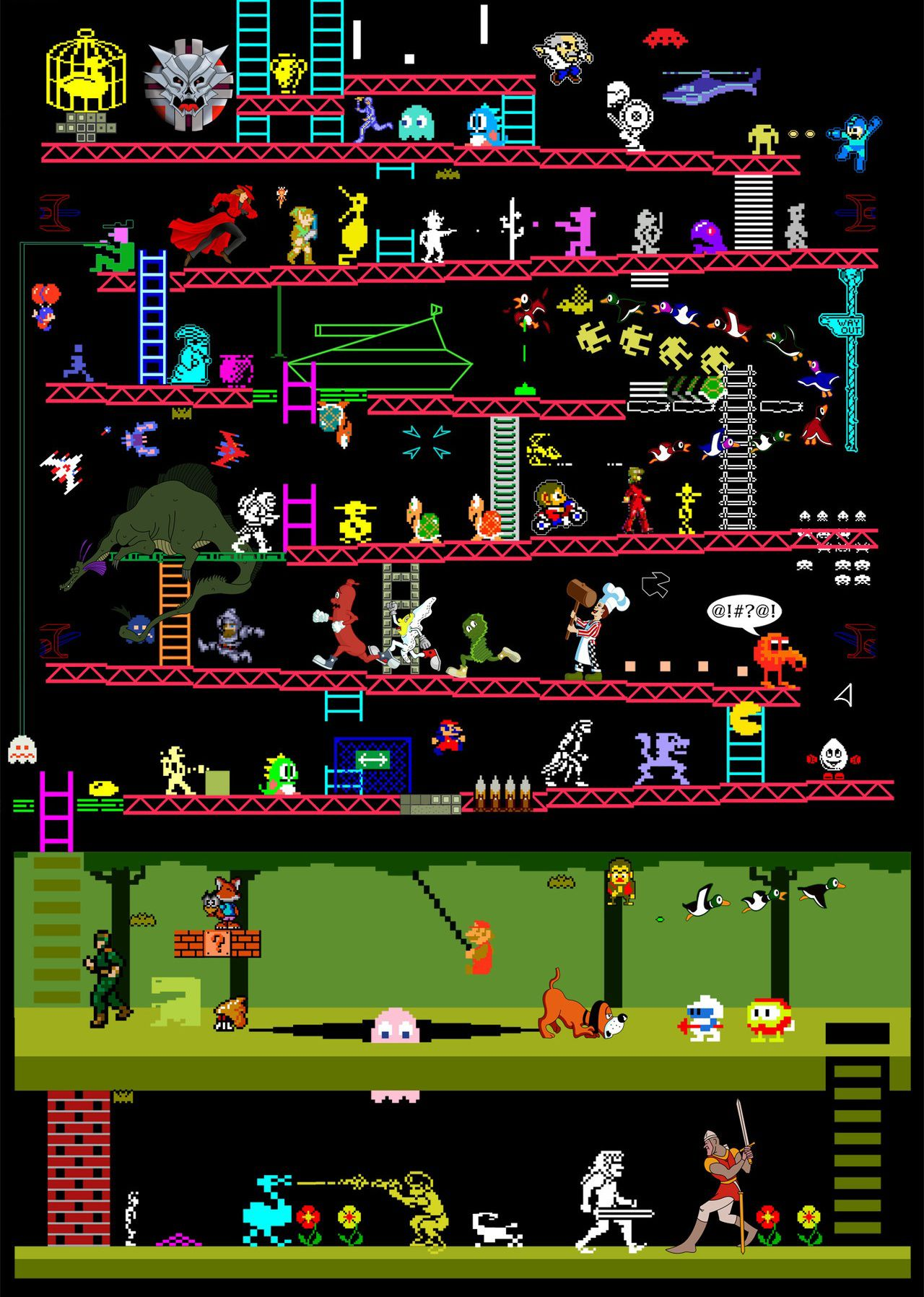 Retro video games character mash-up poster