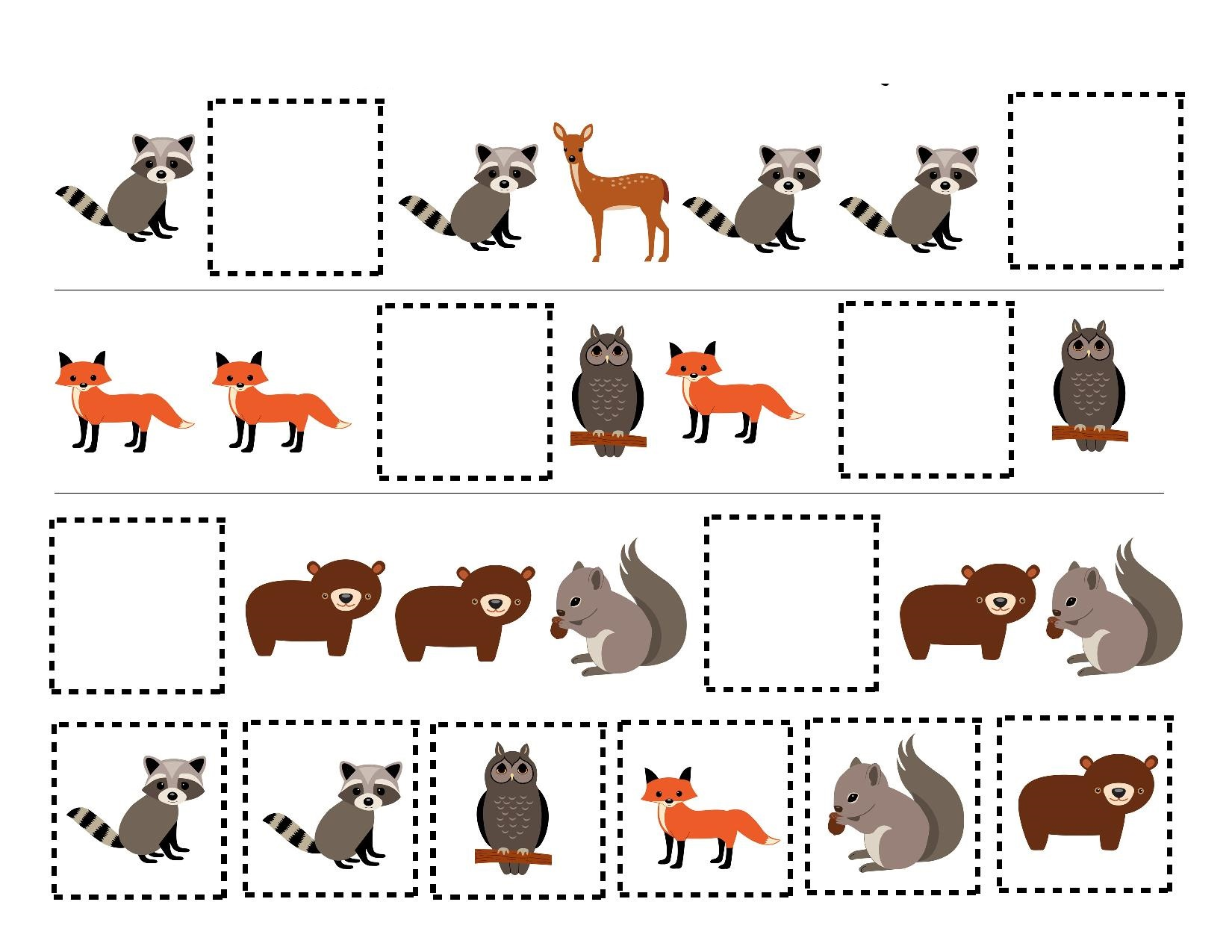 Forest Animal Worksheet For Preschool