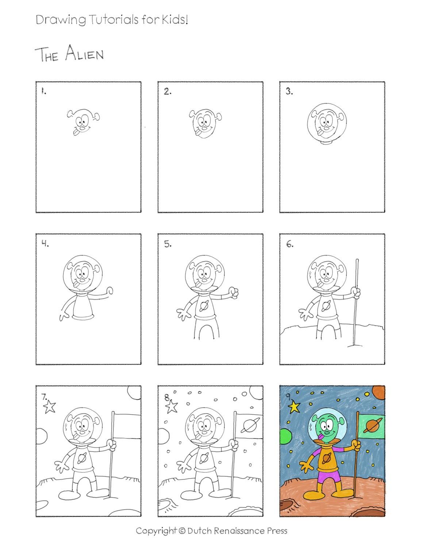 Easy Drawing Tutorials For Kids Alien Preschool And