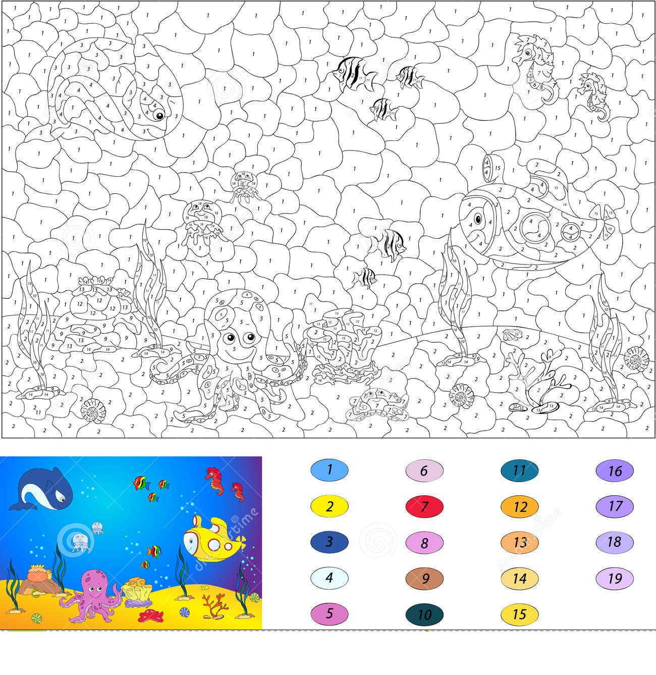 Fish Color By Number Coloring Pages 6 Preschool And Homeschool