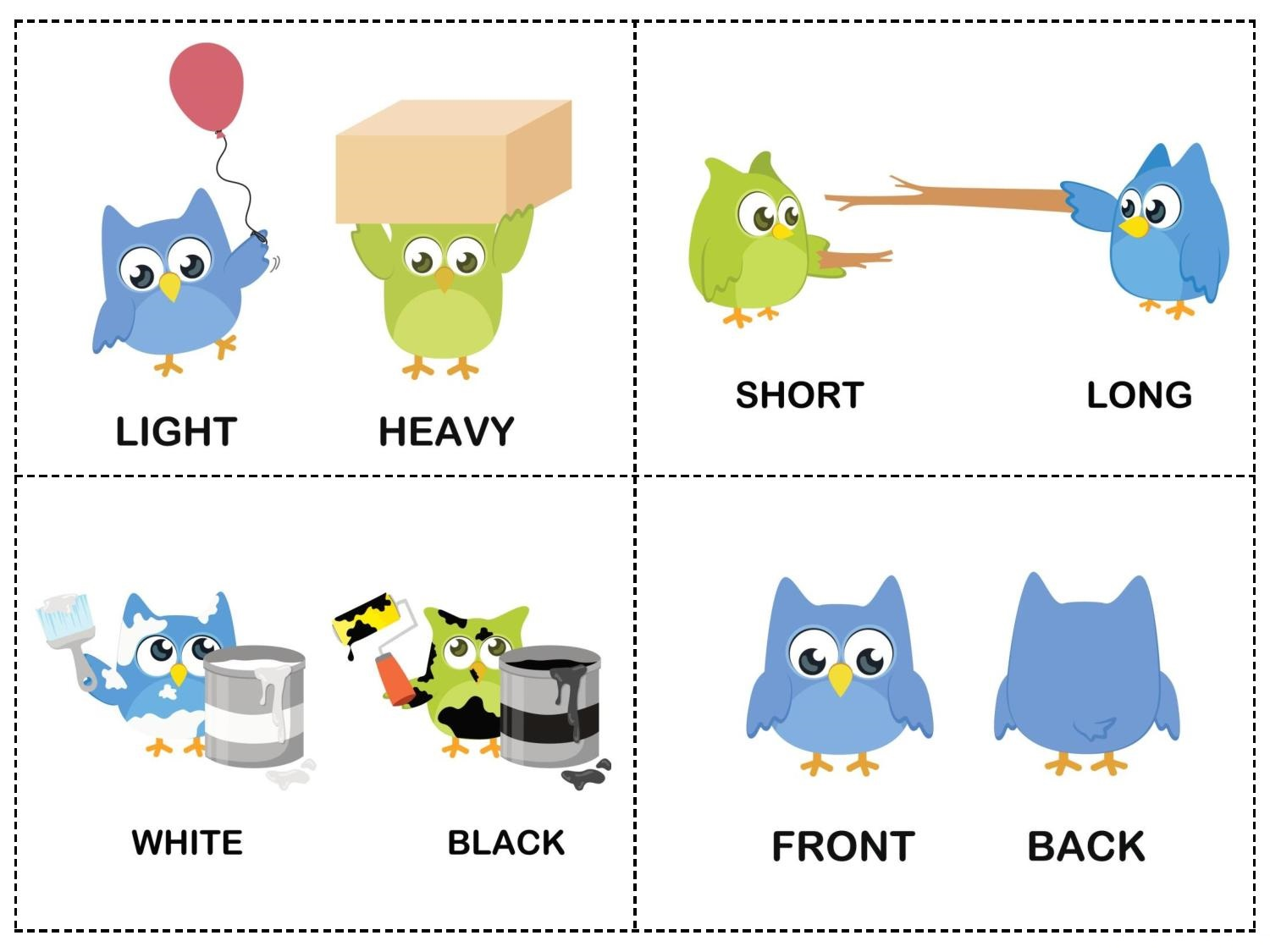 Owl Theme Opposites Cards 2 Preschool And Homeschool