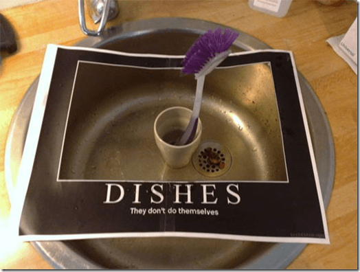 Funny roomie note - dishes don't do themselves
