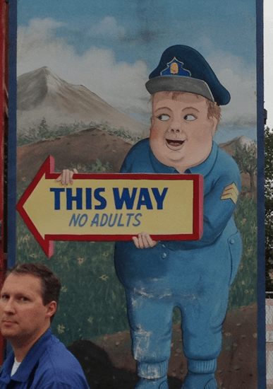 Sign - this way, no adults