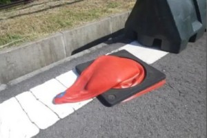Traffic cone melted by the heat
