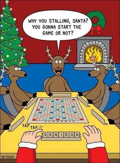 Santa Scrabble with the reindeer