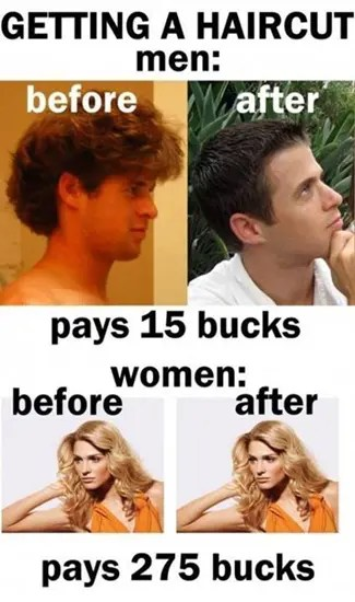 Getting a haircut–difference between men and women