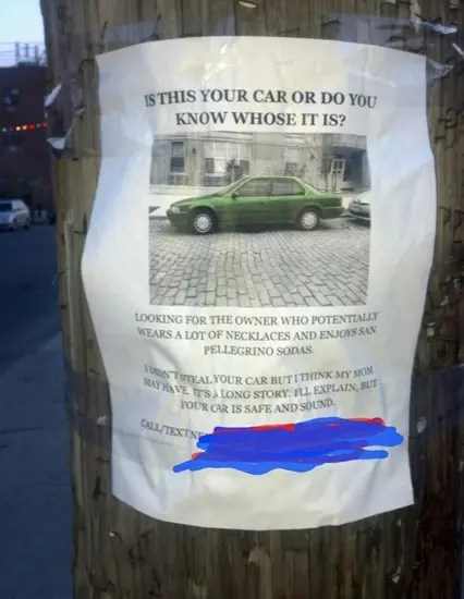 Funny sign about stolen car