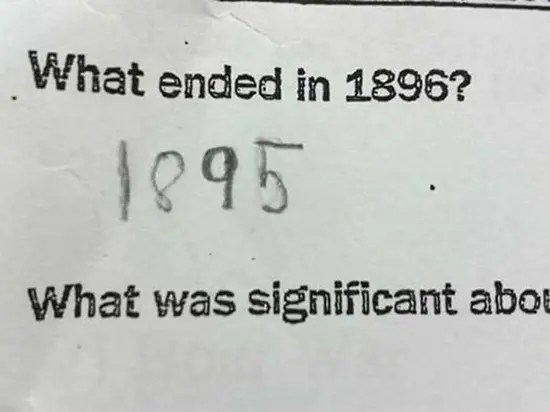 History quiz - what ended in 1896?