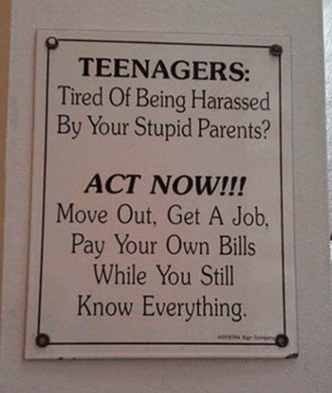 Teenagerse - tired of being harassed by your parents?