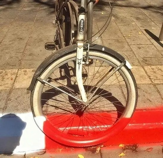 Bike with road paint on it