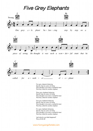Lyrics For Five Grey Elephants Funny Songs For Kids