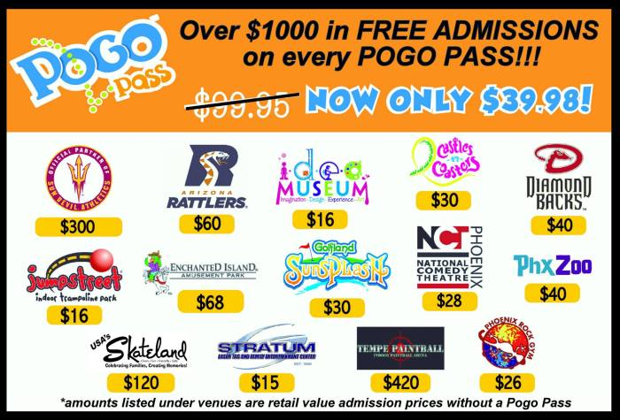 Check out the value of Pogo Passes. This is the price to visit each venue. With the Pogo Pass you can visit all of these for only $39.98!!!