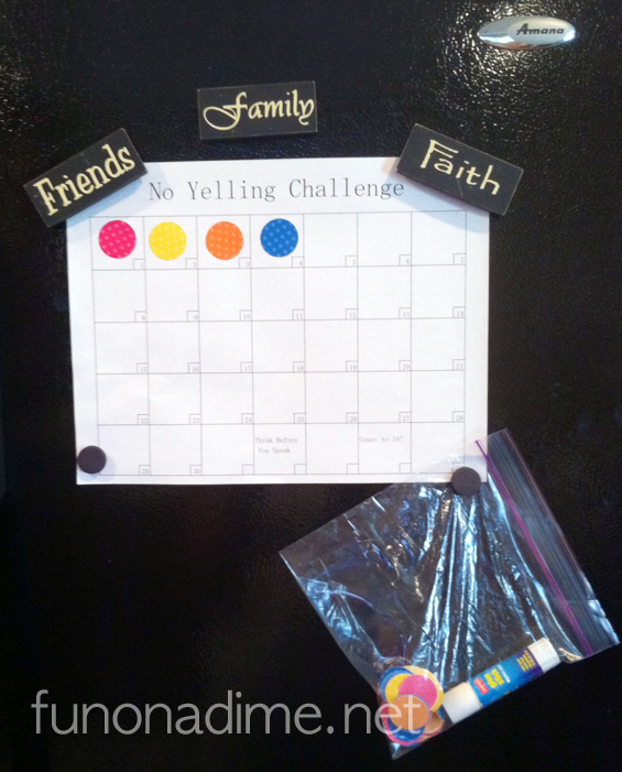 No Yelling Challenge Fridge Calendar